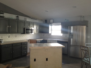 Once the white subway tile backsplash was in, we moved on to the island.