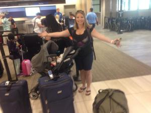 Yes, this is how much luggage it takes to leave home with baby.